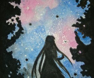 drawing, silhouette, and stargaze image
