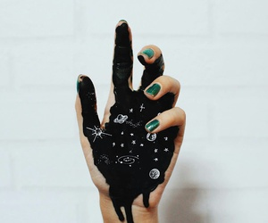 art, black, and hand image