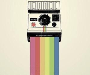 polaroid, camera, and rainbow image