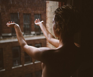 freedom, rain, and woman image