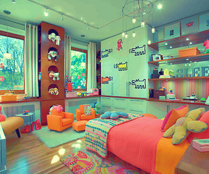 room, bedroom, and colorful image