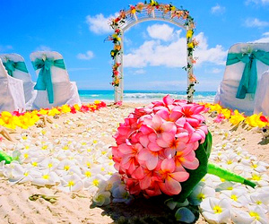 beach, flowers, and wedding image