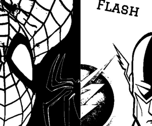 comic, flash, and spiderman image