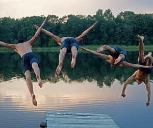 boy, jump, and friends image
