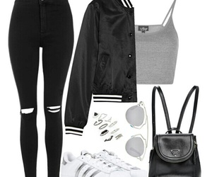 adidas, black, and Polyvore image