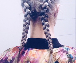 braids, floral, and flower image