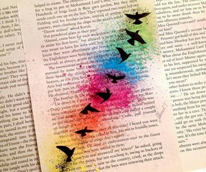 birds, paint, and book image
