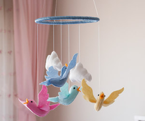bird mobile, etsy, and crib mobile image
