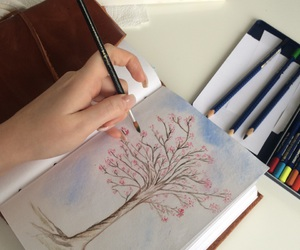 aquarell, art, and cherry image
