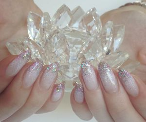 nails, crystal, and pale image