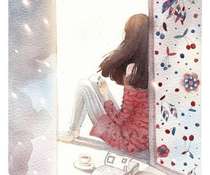 girl, art, and book image