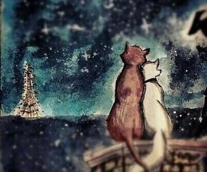 cat, paris, and love image