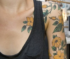 tattoo, flowers, and yellow image