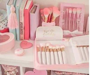 desk, organisation, and pink image