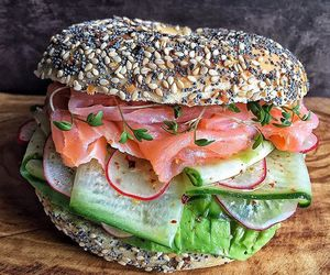 food, yummy, and bagels image
