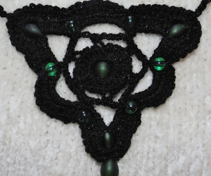 bead, black, and crochet image