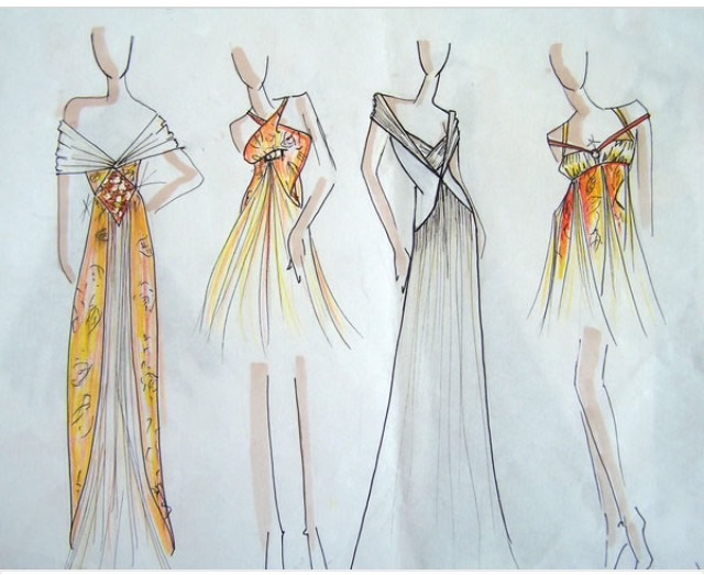 Gold Color Scheme Fashion Sketch On We Heart It