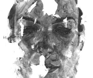 black and white, watercolor, and painting image