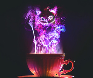 cat, alice in wonderland, and tea image