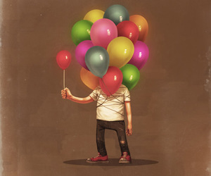 ballons and man image