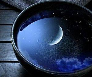 crescent moon, moon, and reflections image