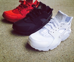 black, huarache, and red image