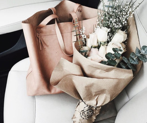 bag, white, and flowers image