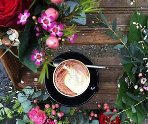flowers, coffee, and morning image