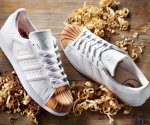 gold, shoes, and adidas image