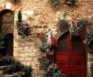 door, italy, and flowers image
