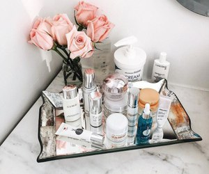 cosmetics, makeup, and flowers image
