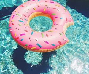 donut, summer, and pool image