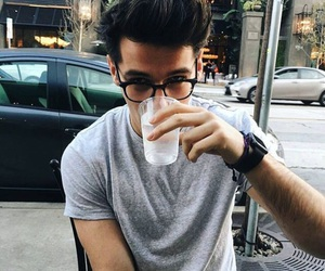 boy, drink, and glasses image