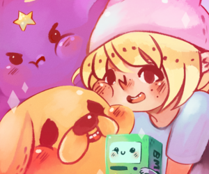 finn, adventure time, and lumpy space princess image