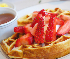 food, strawberry, and waffles image