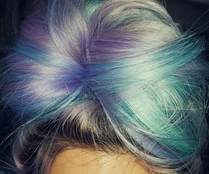 colorful hair, hair, and pastel blue image