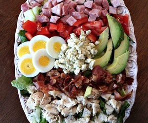 eating, healthy, and salad image