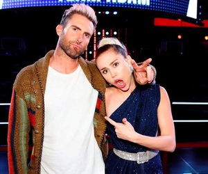 miley cyrus, the voice, and adam levine image