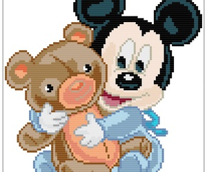 baby, mickey mouse, and pixelated image