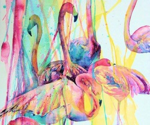 flamingo, art, and colors image