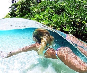 girl, swimming, and under water image