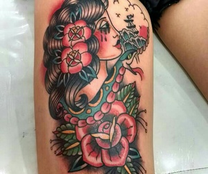 inked, oldschool, and tattoo image