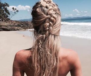 beach, braids, and cool image