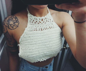 outfits, halter top, and crochet crop top image