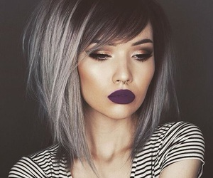 hair, hairstyle, and lips image
