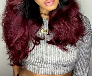 gold chain, long burgundy hair, and grey crop long sleeve image
