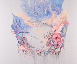 art, pastel, and flowers image