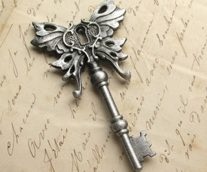 key, butterfly, and vintage image