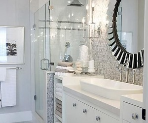 bathroom, mirror, and white image