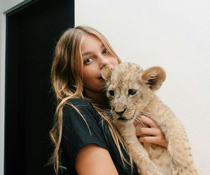 girl, lion, and cute image